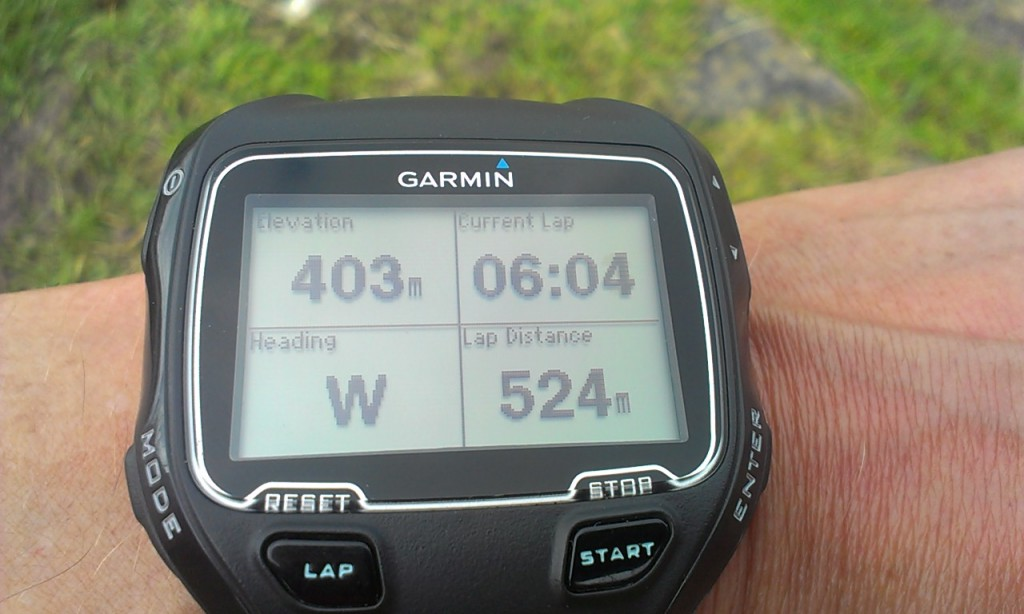 GPS watch displaying lap distance