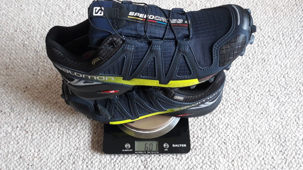 photo of Salomon Speedcross 4 on the scales
