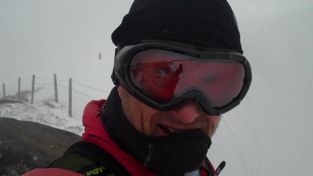 running in ski goggles