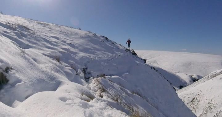 running on steep snow
