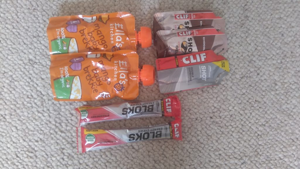 Cliff Shot Bloks, gels and baby food