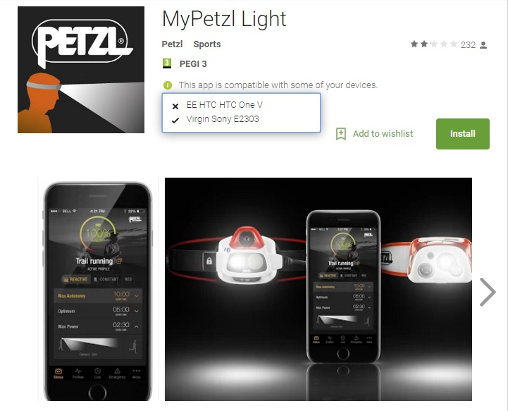 photo of My Petzl Light app