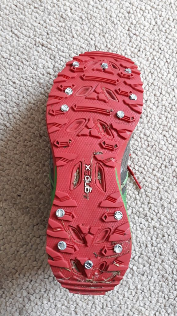 photo of trail shoe with DIY ice studs