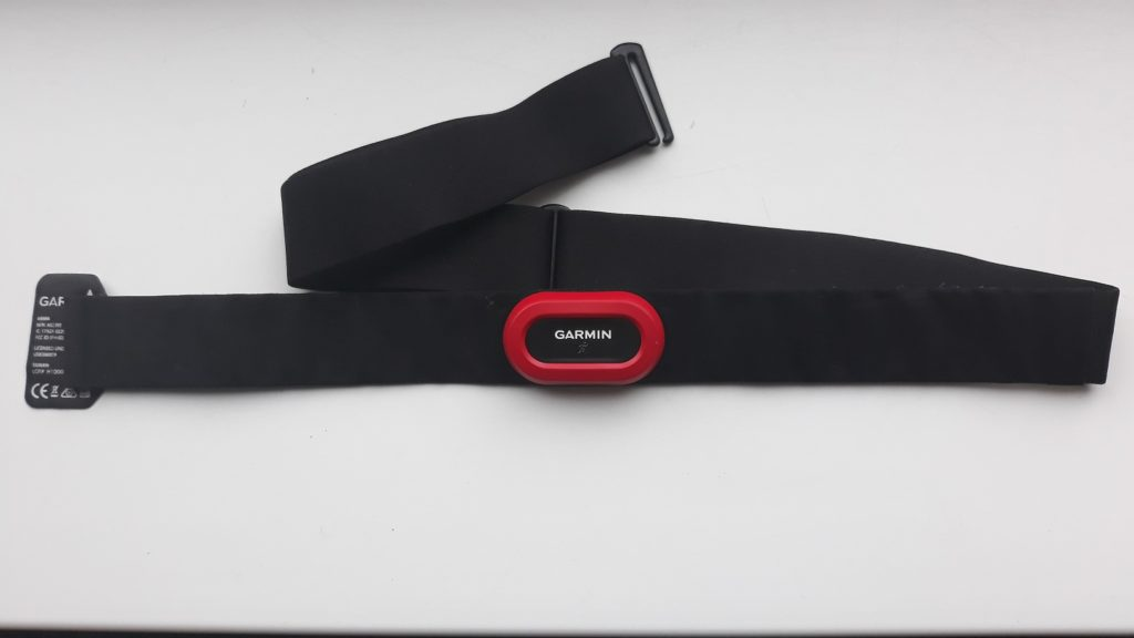 photo of HRM chest strap with transmitter