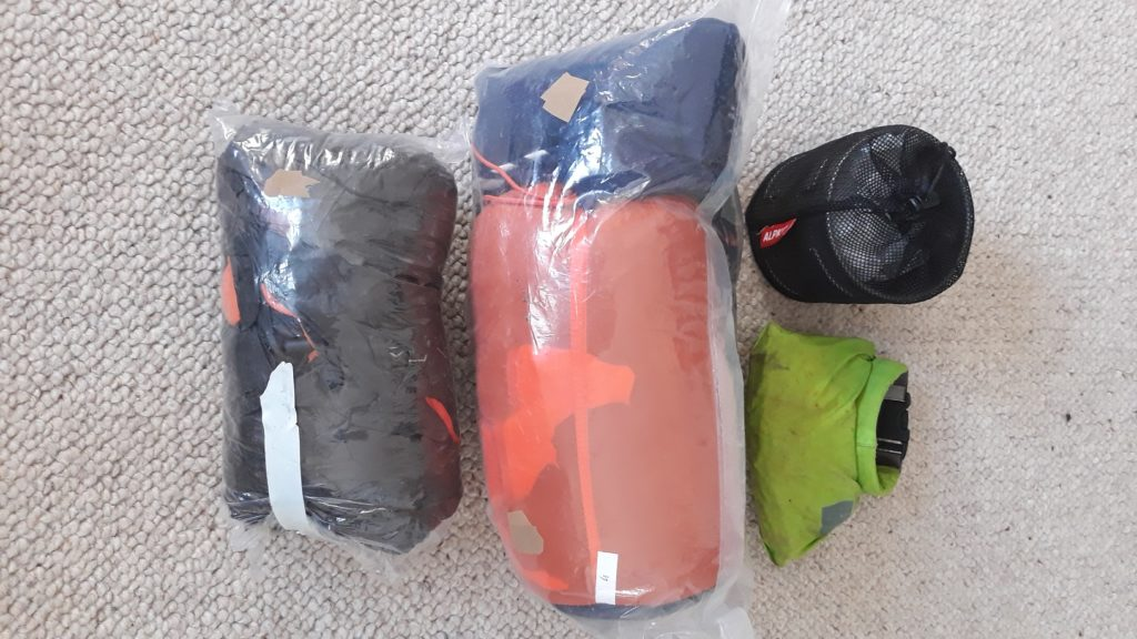 photo of improvised dry bags for clothing