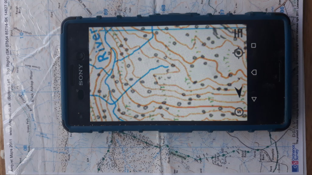 photo of map on smartphone