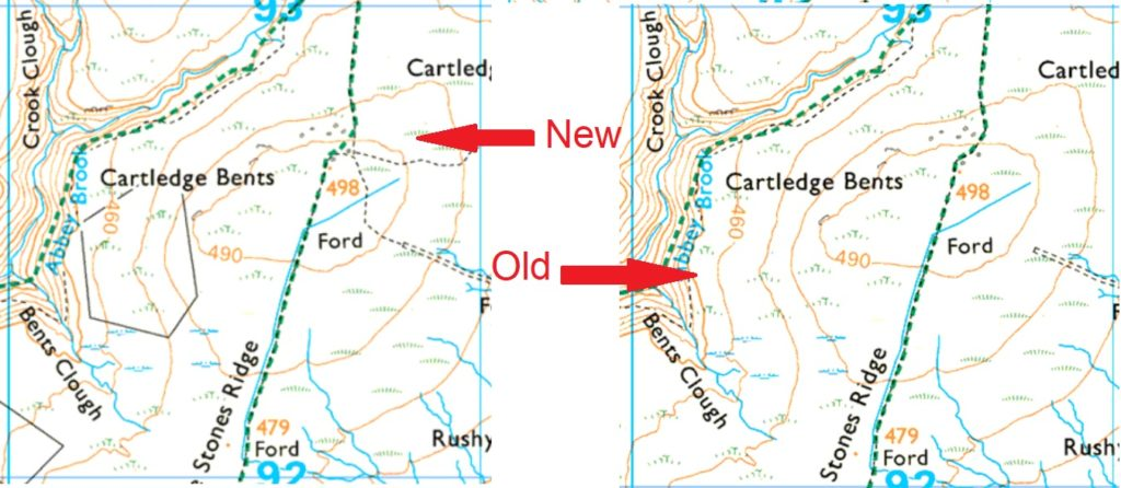 comparison of 2 Ordnance Survey maps