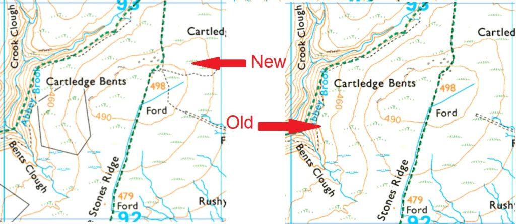 comparison of 2 Ordnance Survey maps
