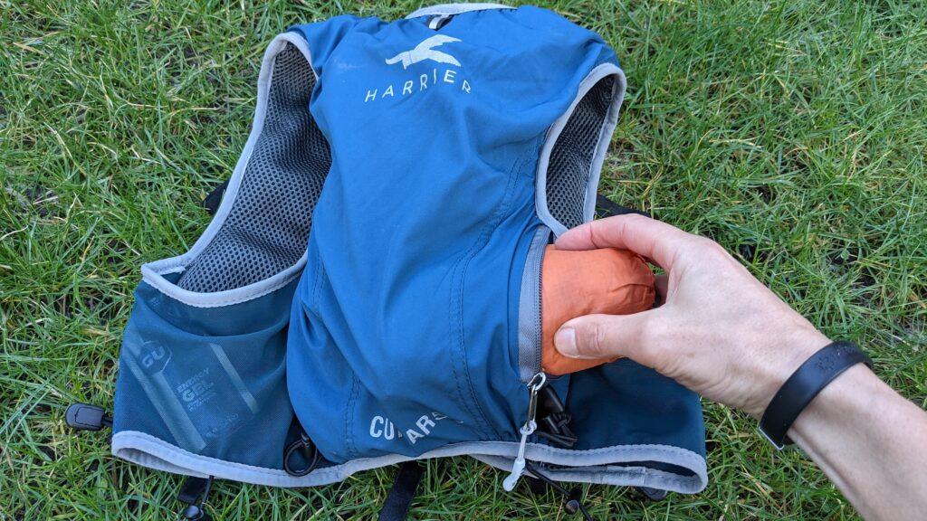 photo of rear pocket on Harrier Curbar race vest